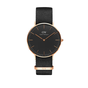 Cornwall Black Nato Rose Gold 36mm Watch