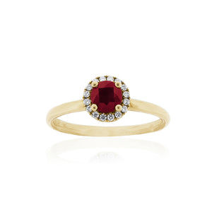 18ct Yellow Gold Ruby Diamond Halo Ring