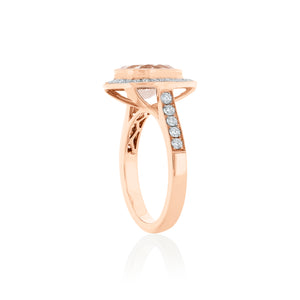 18ct Rose Gold Pear Morganite Diamond Ring