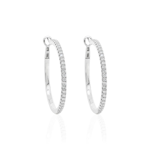18ct White Gold Diamond Hoop Earrings
