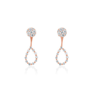18ct Rose Gold Diamond Tear Drop Jacket Earrings