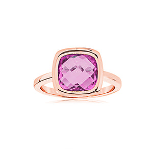 9ct Rose Gold Amethyst Cushion Ring