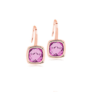 9ct Rose Gold Amethyst Cushion Drop Earring