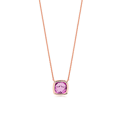 9ct Rose Gold Amethyst Cushion Necklace