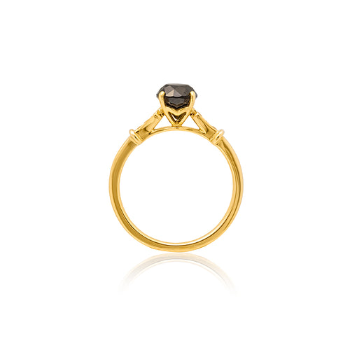 18ct Yellow Gold Kara Black Diamond Ring