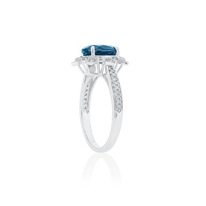 18ct White Gold London Blue Topaz Diamond Ring