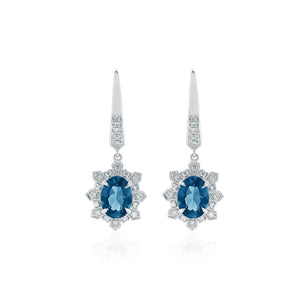 18ct White Gold London Blue Topaz Diamond Earrings