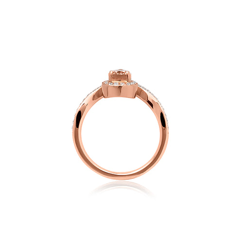 18ct Rose Gold Swan Morganite Diamond Ring