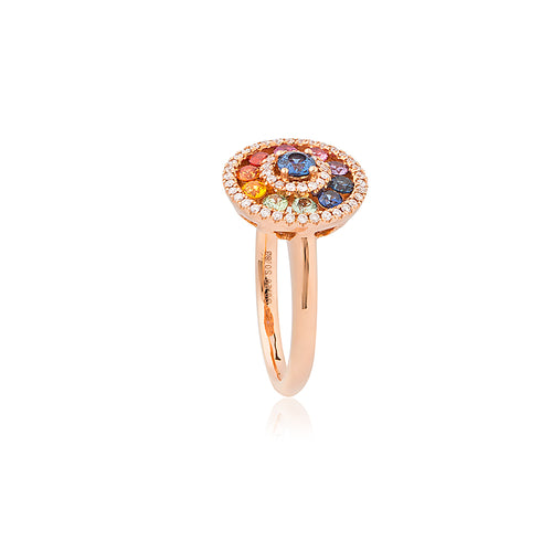 18ct Rose Gold Multi Sapphire Diamond Ring (Round)