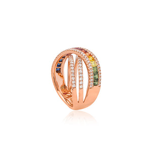 18ct Rose Gold Multi Colour Sapphire Ring