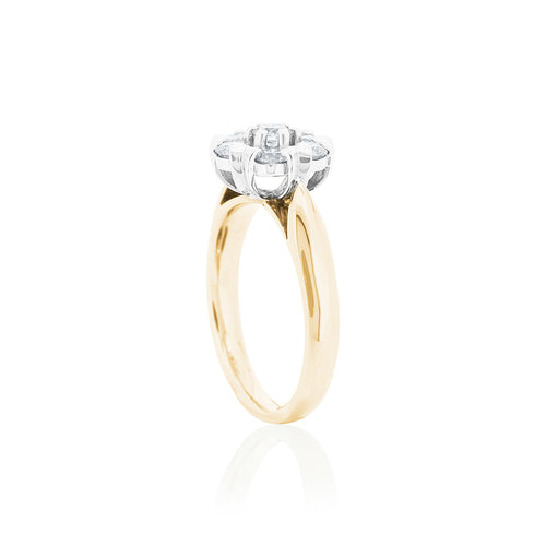 18ct Yellow Gold 7D=1.00 Diamond Cluster Ring