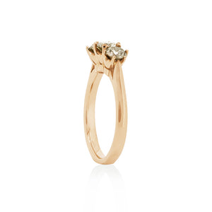 18ct Rose Gold Trilogy Champagne Diamond Ring 3D=1.02ct