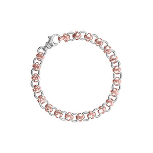 Small Swiss Cross Bracelet 9ct Rose Gold and Sterling Silver