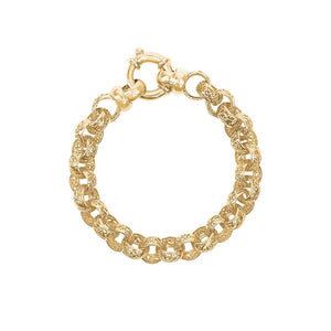 9ct Yellow Gold Filigree Round Belcher Bracelet