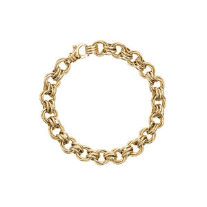 9ct Yellow Gold Triple Oval Link Bracelet
