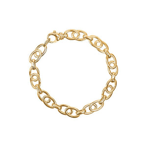 9ct Yellow Gold Double Oval Flat Bracelet