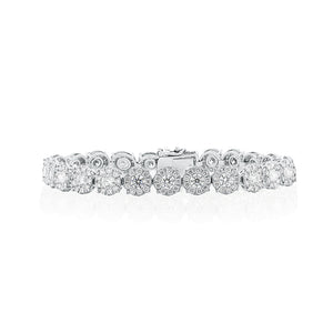 18ct White Gold Cluster Diamond Tennis Bracelet 230D=9ct