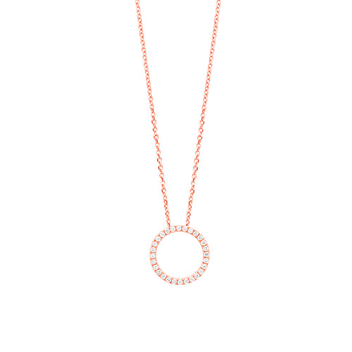 18ct Rose Gold Diamond Circle Pendant