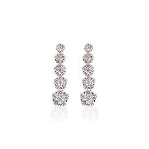 18ct Rose Gold Diamond Drop Earrings
