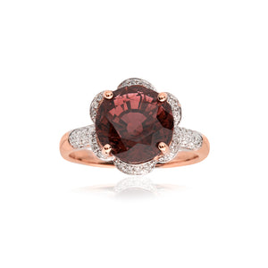 18ct Rose Gold Tourmaline & Diamond Flower Dress Ring