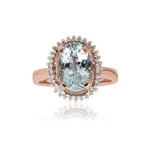 18ct Rose Gold Aquamarine & Diamond Dress Ring