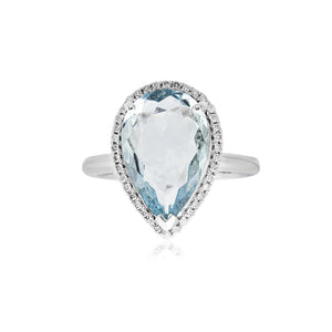 18ct Yellow Gold Aquamarine & Diamond Dress Ring