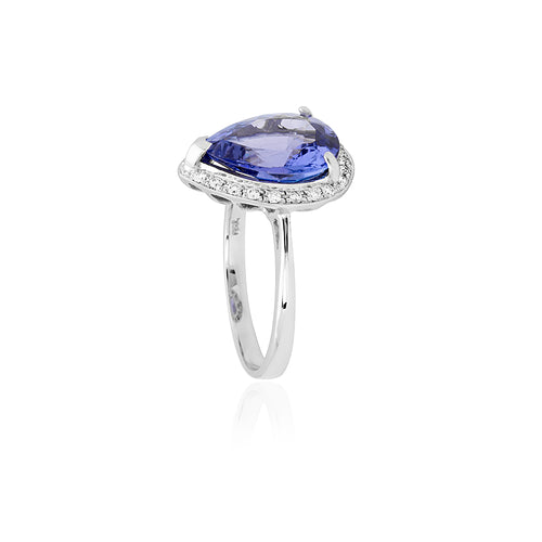 18ct White Gold Tanzanite & Diamond Dress Ring