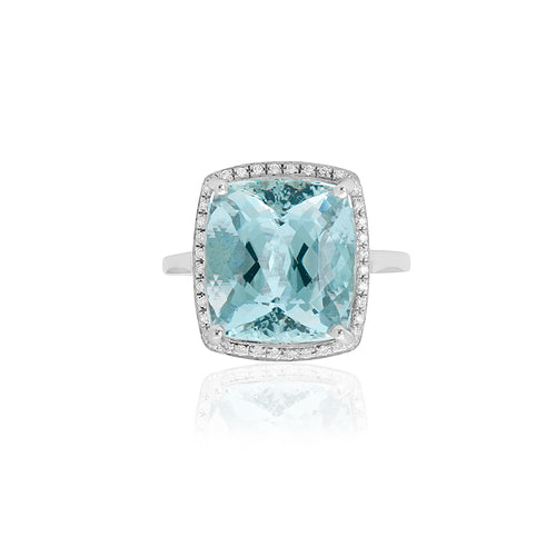 18ct White Gold Aquamarine & Diamond Dress Ring