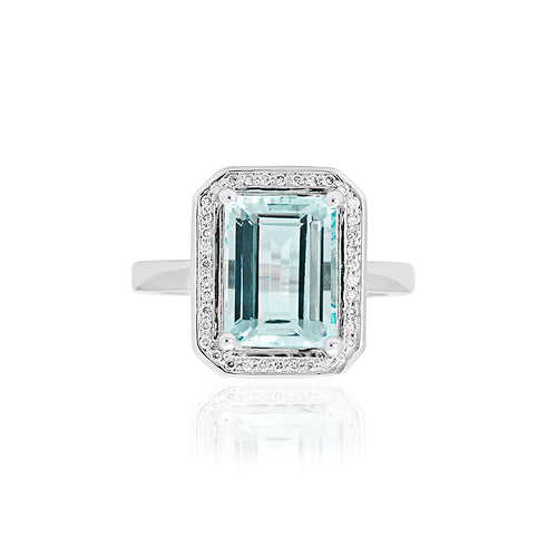18ct White Gold Aquamarine Diamond Ring