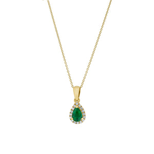18ct Yellow Gold Emerald & Diamond Halo Petite Pendant