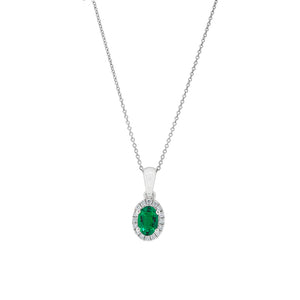 18ct White Gold Emerald & Diamond Petite Halo Pendant