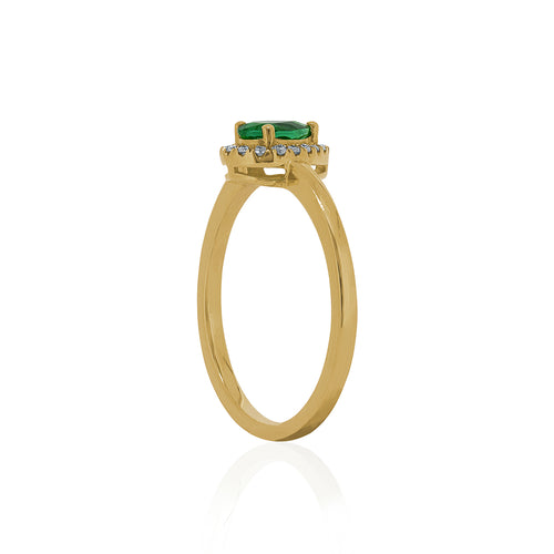 18ct Yellow Gold Emerald & Diamond Halo Petite Ring