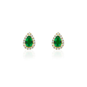 18ct Yellow Gold Emerald & Diamond Halo Petite Earring