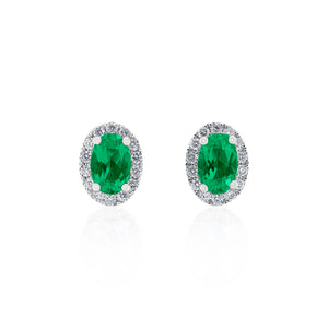 18ct White Gold Emerald & Diamond Halo Petite Earring