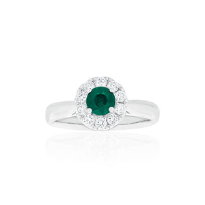 18ct White Gold Carmela Emerald & Diamond Ring