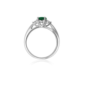 18ct White Gold Sintra Emerald Diamond Ring