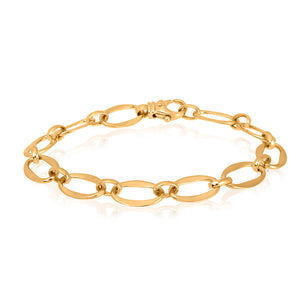 9ct Yellow Gold Long Flat Oval Bracelet