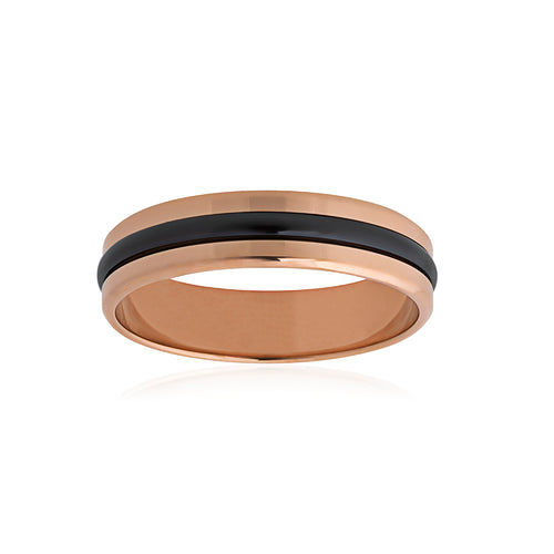 9ct Rose Gold Black Zirconium Wedder 5mm