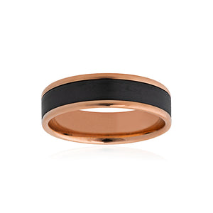 9ct Rose Gold Black Zirconium Band 6mm