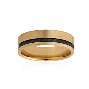 9ct Yellow Gold Black Zirconium Band 6mm