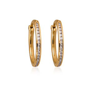 9ct Yellow Gold Avon Diamond Hoop Earrings