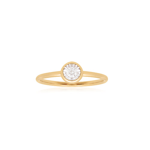 18ct Yellow Gold Facets Diamond Ring