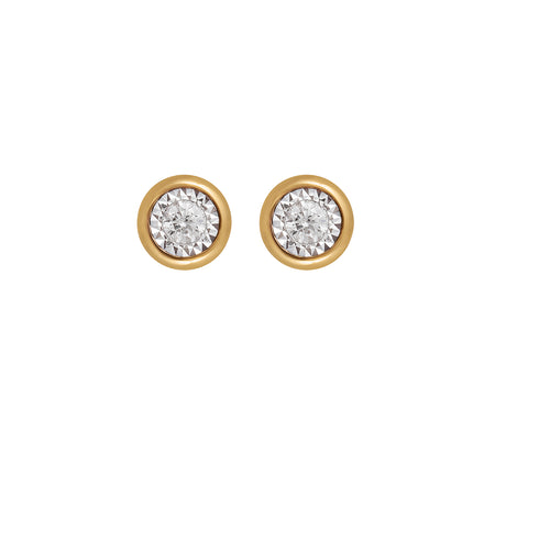 18ct Yellow Gold Diamond Facets Stud Earrings