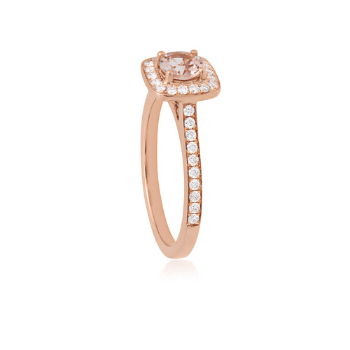 18ct Rose Gold Amira Morganite Diamond Ring