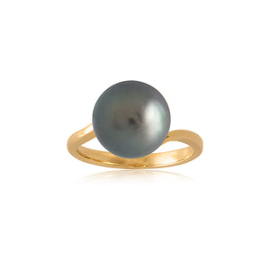 18ct Yellow Gold Black Pearl Perenna Ring