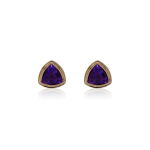 9ct Rose Gold Trinity Stud Earrings - Amethyst