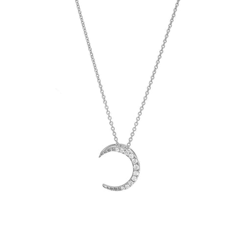 9ct White Gold Moon Diamond Pendant