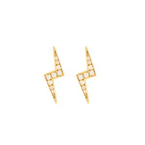 9ct Yellow Gold Zap Diamond Stud Earrings
