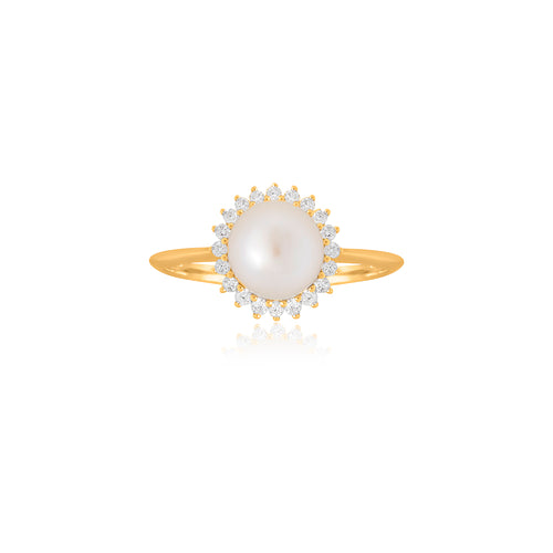 9ct Yellow Gold Dhalia Pearl Diamond Ring