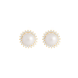 9ct Yellow Gold Dhalia Pearl Diamond Earrings